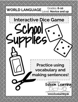 School Supplies Dice Game