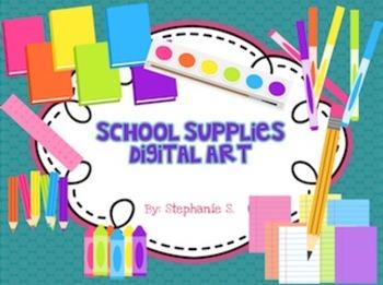 School Supplies Digital Art