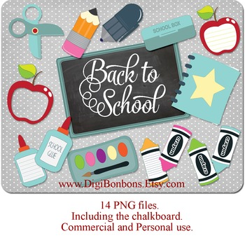 SALE- School Supplies Digital Clip Art