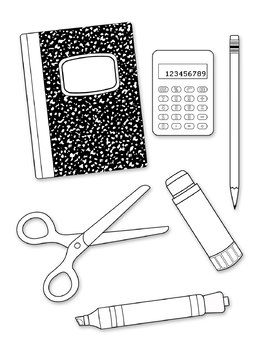 School Supplies Digital Clip Art Line Drawing PNG files Black and White Clip Art