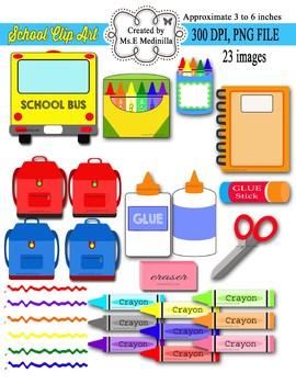 School Supplies Digital Clip Art,  School Bus, Crayons PU / CU- SET of 23