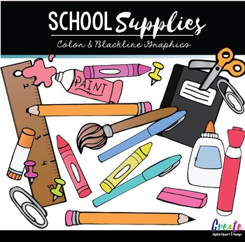 School Supplies - Digital Clipart