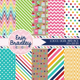 School Supplies Digital Paper Pack - Pink Red Blue Green B