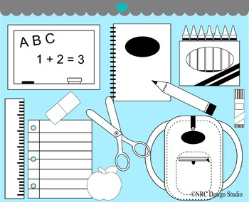 School Supplies Digital Stamp Clip Art for Personal and Commercial Use