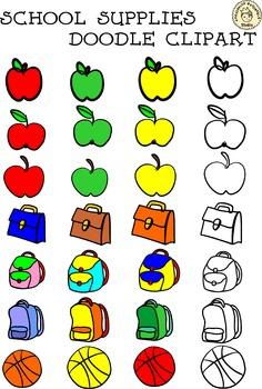 School Supplies Doodle Clipart