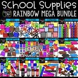 School Supplies Dotty Mega Bundle: School Clipart {Creativ