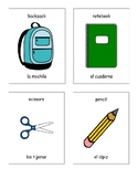 School Supplies - English and Spanish Words