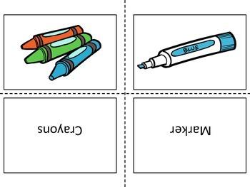 School Supplies Flash Cards