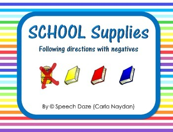 School Supplies Following directions with Negatives