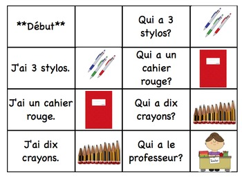 "School Supplies -  ""J'ai, qui a"" French Race Cards (FSL) Oral communication"