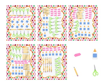 School Supplies Graph Math Center