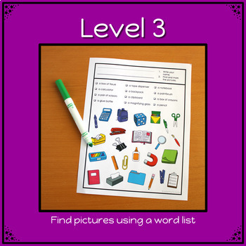 Back to School Game: Find It adapted with 3 levels