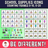 School Supplies Icons Counting Frames 0-10, 0-20 (Megapack) Clipart