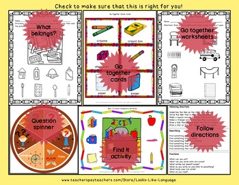 Picture Lotto Games for School Vocabulary Riddles