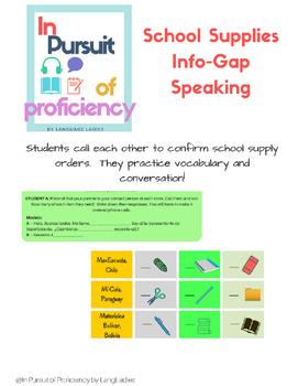 School Supplies (materiales escolares) Info-Gap Speaking