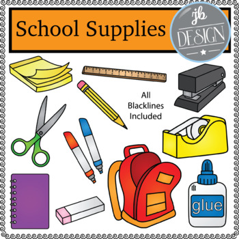 School Supplies (JB Design Clip Art for Personal or Commercial Use)