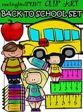 School Supplies + Kids Clipart Set { Back to School }
