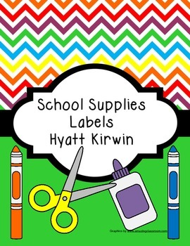 School Supplies Labels: Bright Colors
