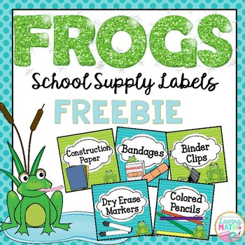 School Supplies Labels FROG THEME - FREEBIE