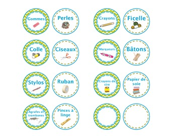 School Supplies Labels (French) - Étiquettes