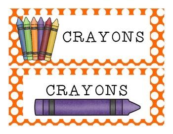 School Supplies Labels {Polka Dot Backgrounds}