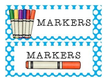 School Supplies Labels {Polka Dot Backgrounds}