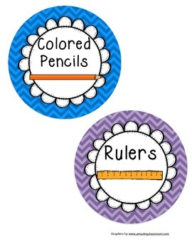 School Supplies Labels With Pictures