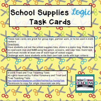 School Supplies Logic Task Cards