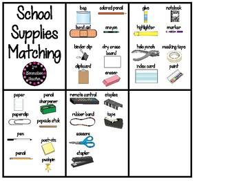 School Supplies Matching Cards