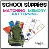 School Supplies Matching Memory and Patterning