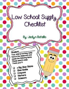 School Supplies Needed- Middle of the Year