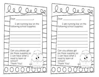 School Supplies - Note home to parents!