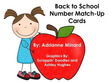 Number Match-Up Cards with School Supplies: Great for Back to School or Anytime