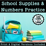 School Supplies & Number Practice - Distance Learning