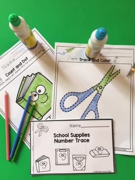 """School Supplies Number Practice """"No Prep"""""""