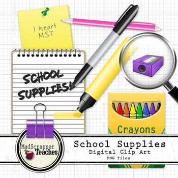 School Supplies Office Supplies Digital Clip Art PNG files