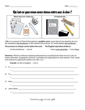 School Supplies / Papeterie Vocab with En