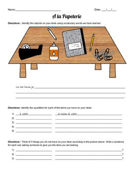 School Supplies / Papeterie Worksheet