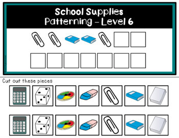 School Supplies Patterning - ADAPTED BOOKS - Levels 4-6