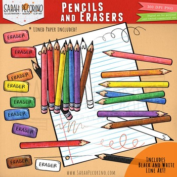 Pencils Clip Art with Erasers, Scribbles and Strokes