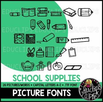 School Supplies Picture Font {Educlips Clipart}