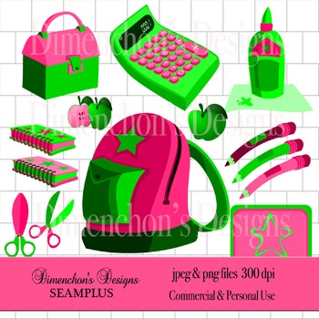School Supplies (Pink and Green Clipart)