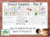 School Supplies -  Play It! {ELA Centers}