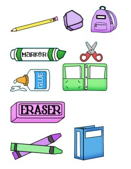School Supplies Pocket Chart