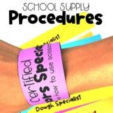 School Supplies Procedure Activities for Back to School