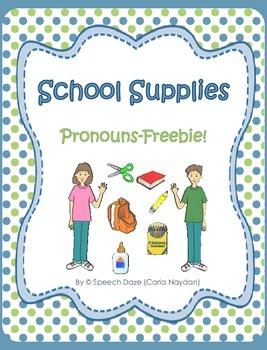 School Supplies Pronouns Freebie