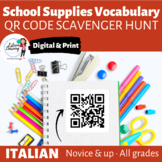 School Supplies - QR Code Scavenger Hunt for Interactive Notebooks - Italian