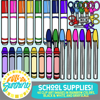 School Supplies Rainbow Colors [Full-On Sunshine Clip Art]