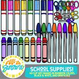 School Supplies Rainbow Colors [Full-On Sunshine Clip Art]