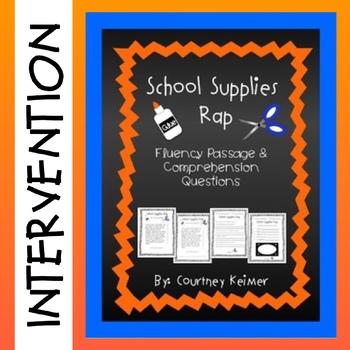 School Supplies Rap Fluency Passage and Comprehension Questions